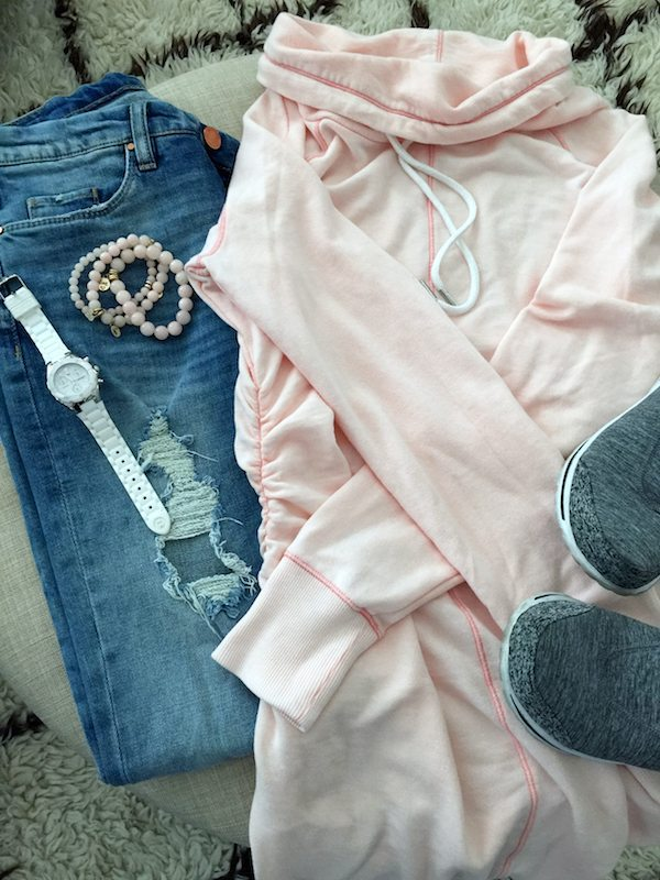 Fall & Winter Fashion - distressed jeans, comfy sweatshirt and Skechers GoWalk sneakers- great casual weekend outfit