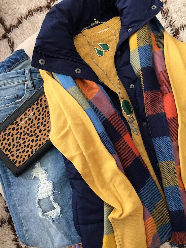 Fall & Winter Fashion - distressed jeans, yellow sweater, puffer vest, leopard clutch, colorful blanket scarf- great weekend outfit