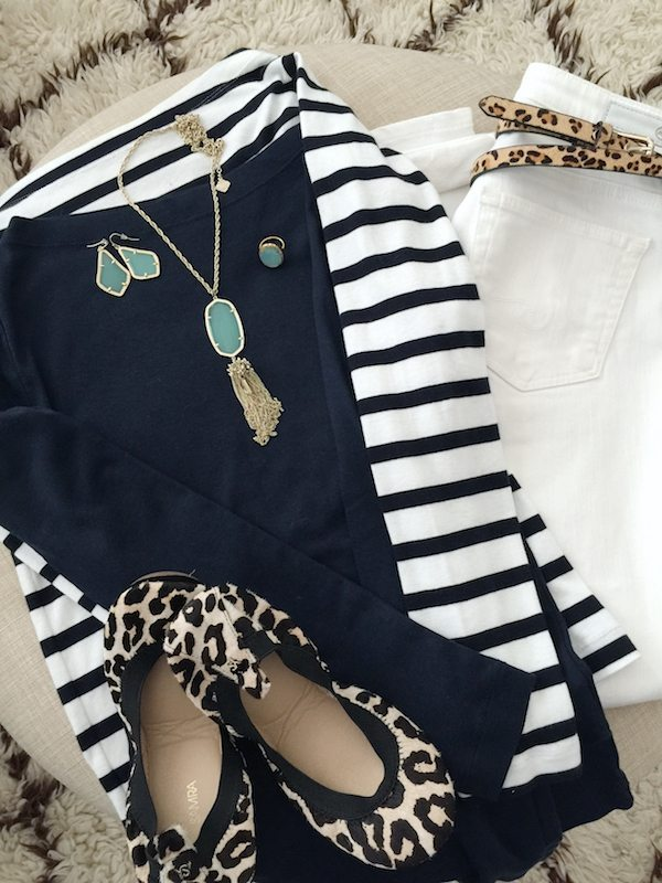 Fall & Winter Fashion - white jeans, boatneck top, leopard belt and shoes with aqua accessories