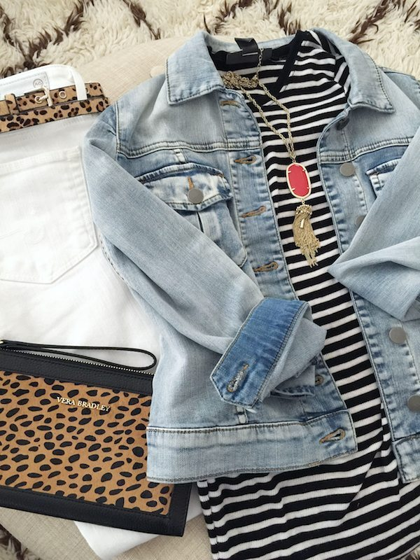 Fall & Winter Fashion - white jeans, striped top, leopard belt and bag with red accessories
