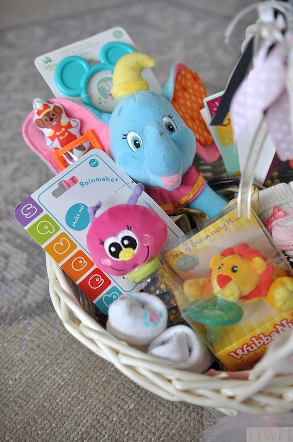 Fun gift basket idea for a baby shower