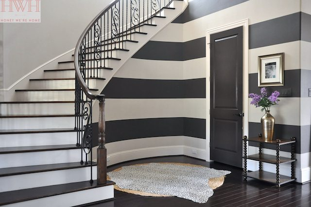 painted stripes and curved staircase