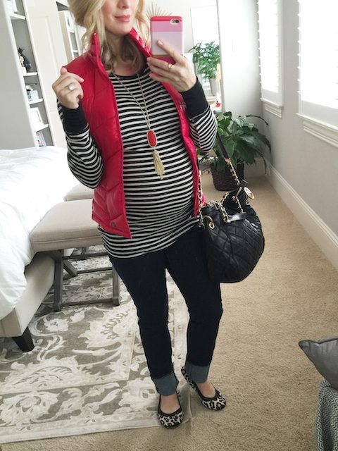 Winter fashion   striped top, puffy vest and leopard ballet flats - #maternitystyle #dressingthebump