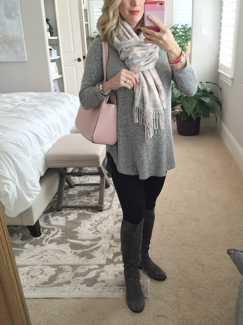 Winter fashion   grey tunic and knee high boots with leggings - #maternitystyle #dressingthebump