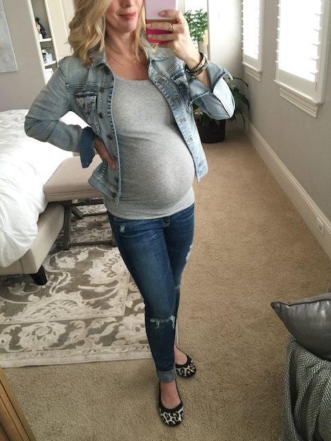 Winter fashion   grey tank, ripped jeans and jean jacket with leopard flats, super cute, casual pregnancy outfit - #maternitystyle #dressingthebump