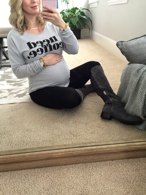 Winter fashion   Need Coffee sweatshirt & knee high boots with leggings - cute, casual pregnancy outfit #maternitystyle #dressingthebump