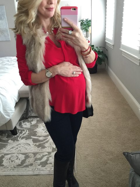 Winter fashion   red tunic and knee high boots with leggings - cute date night pregnancy outfit, #maternitystyle #dressingthebump