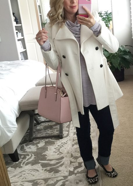 Winter fashion   lilac tunic with jeans and leopard flats, white coat