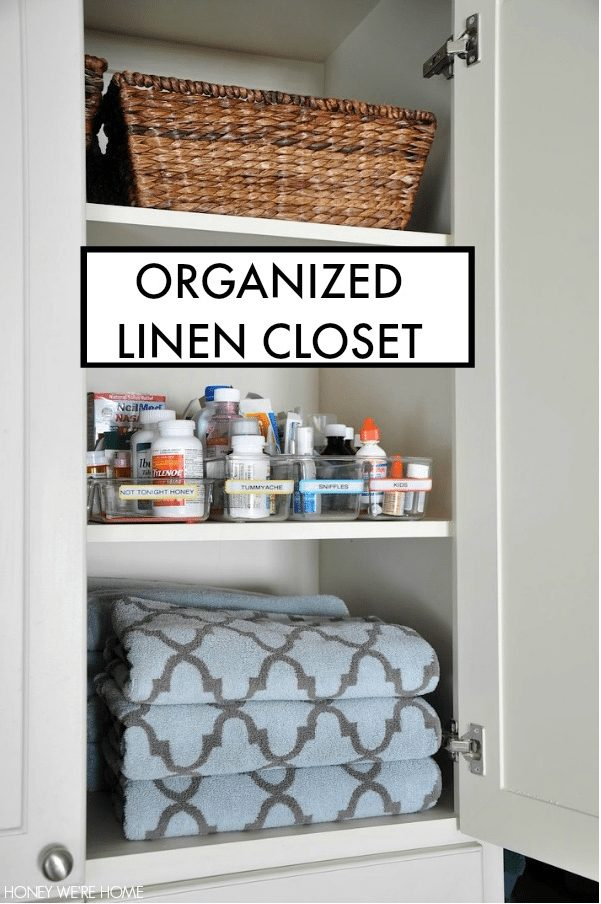 Tips to get you organized in the new year- including an Organized Linen Closet
