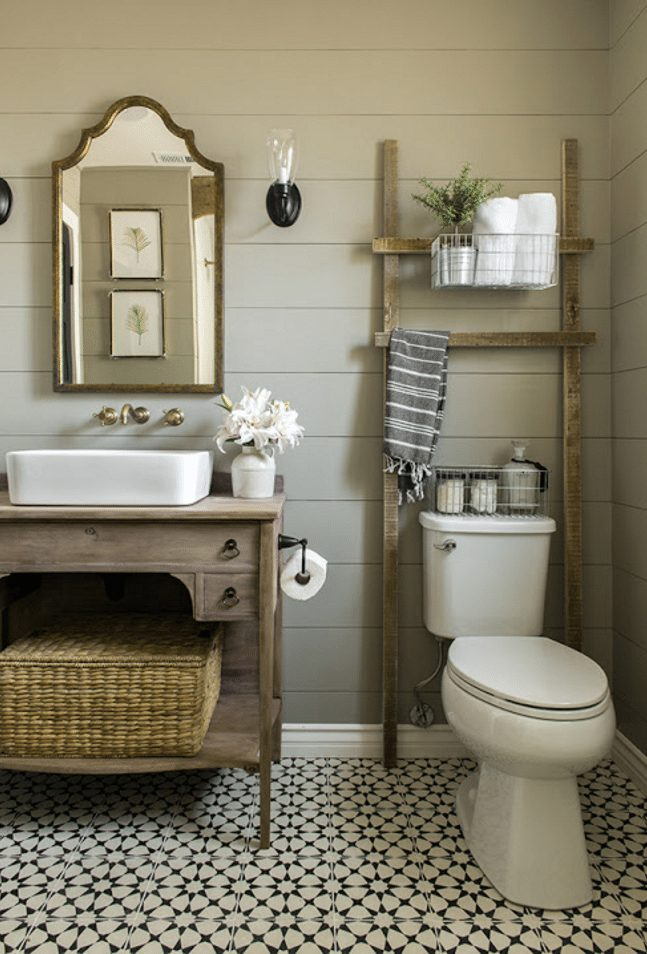 How gorgeous is this rustic, neutral bathroom - love that ladder shelf!   Jenna Sue Design Co.
