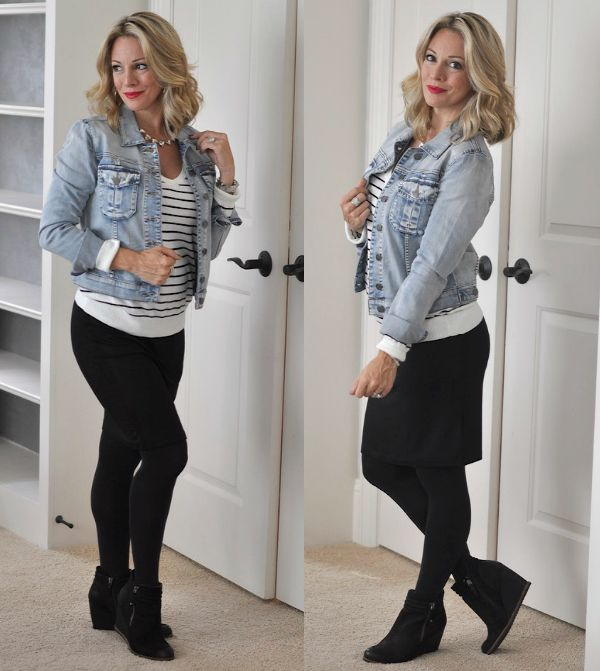 Fall fashion - great way to wear skirt with wedge booties & lots of other bootie outfits on her blog too