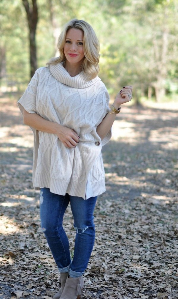 Fall/Winter fashion - distressed jeans, booties and cowl neck sweater