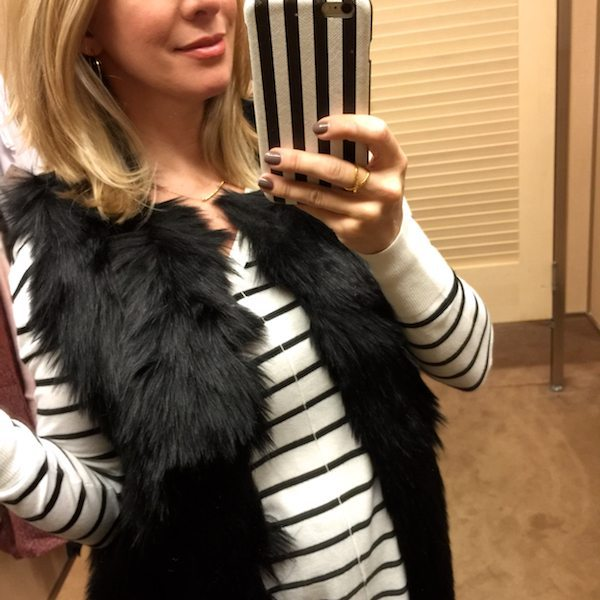 Fall/Winter fashion - striped top and black faux fur vest