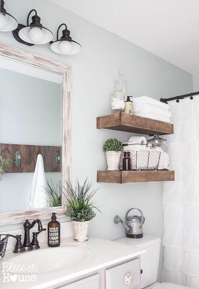 Gorgeous wooden open shelving in bathroom - Blesser House