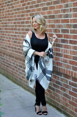 Winter fashion | plaid poncho and black skinny jeans with heels