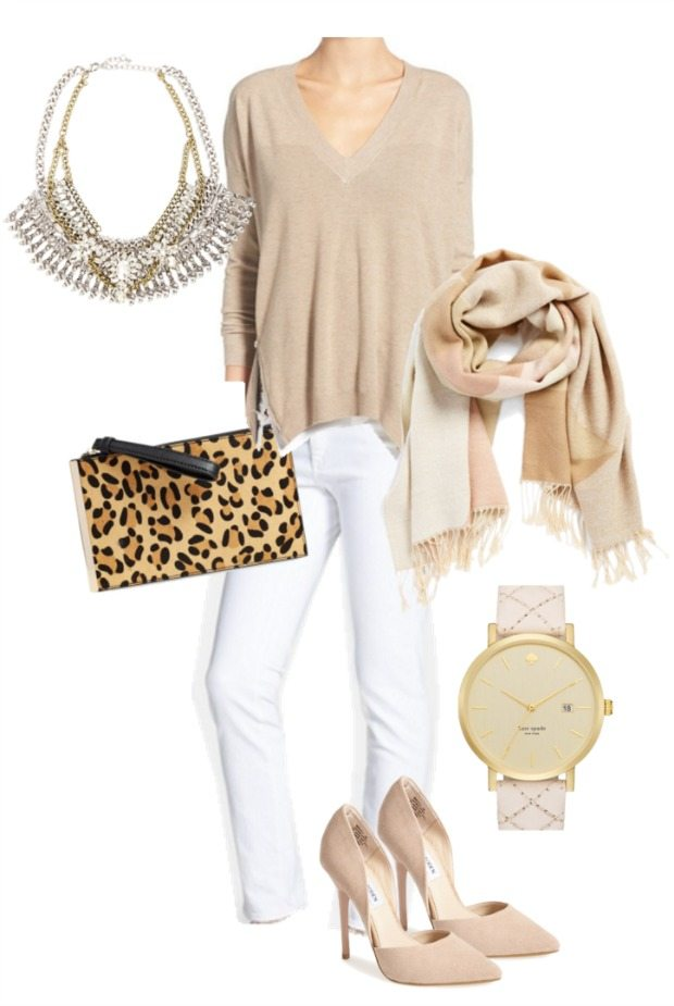 Winter white outfit inspiration - loving the luxe look of the blush pink and leopard bag