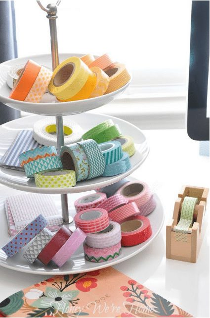 Creative way to display your washi tape collection - on a cupcake stand