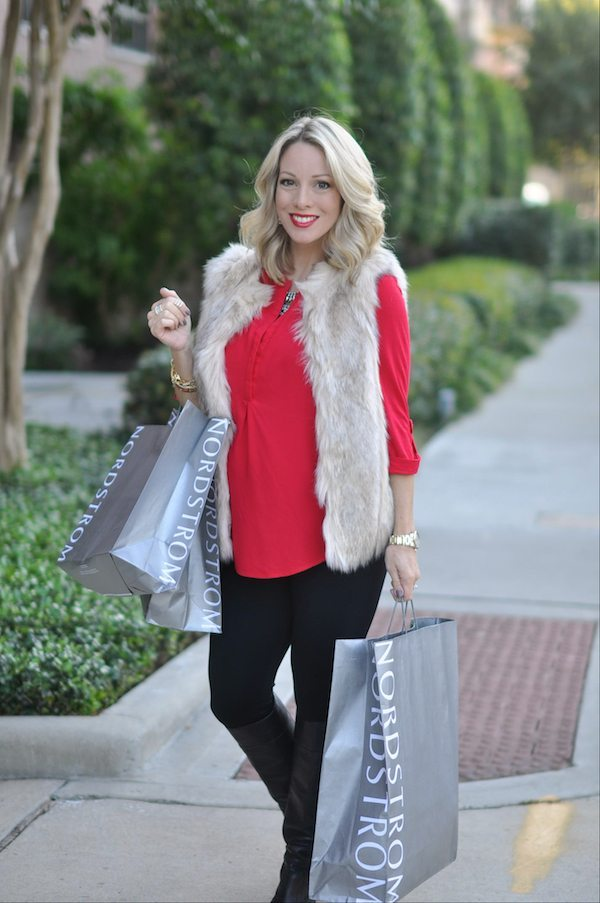 Fall/Winter fashion - black and red and faux fur vest