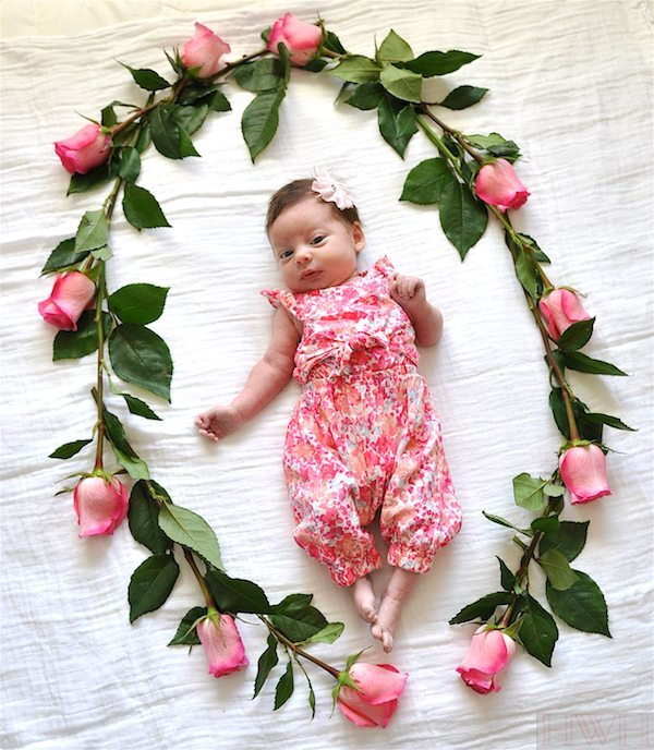 Baby photo idea with flowers