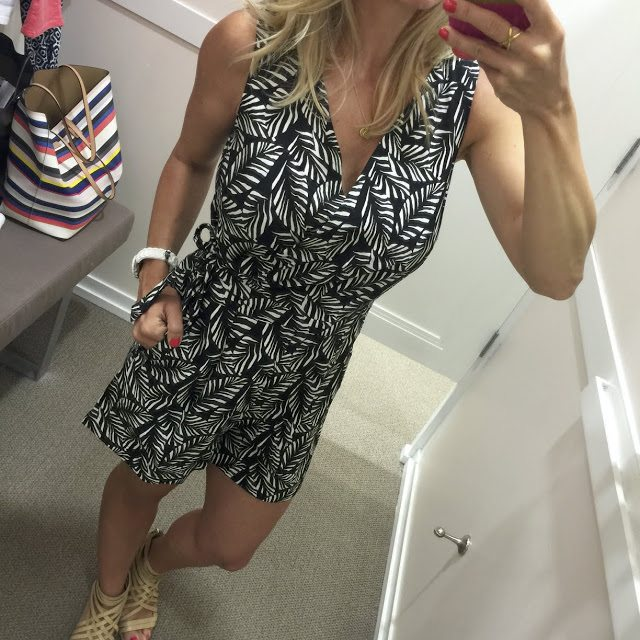 I'm definitely #teamromper and I know a lot of you are too or would be if you found an age-appropriate one. Well, here you go! This one looks sophisticated and fun at the same time. It's not too short, not too low cut, and is different from many I've seen because it wraps up top and ties at the waist. It even has pockets! This came home with me for sure! It's 50% off now, so scoop it up!
