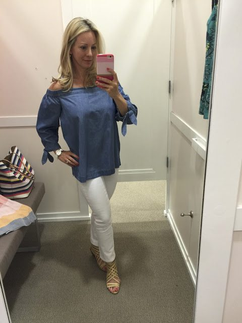 Summer Fashion -chambray off the shoulder top and white jeans #outfit #outfitinspo #summerfashion