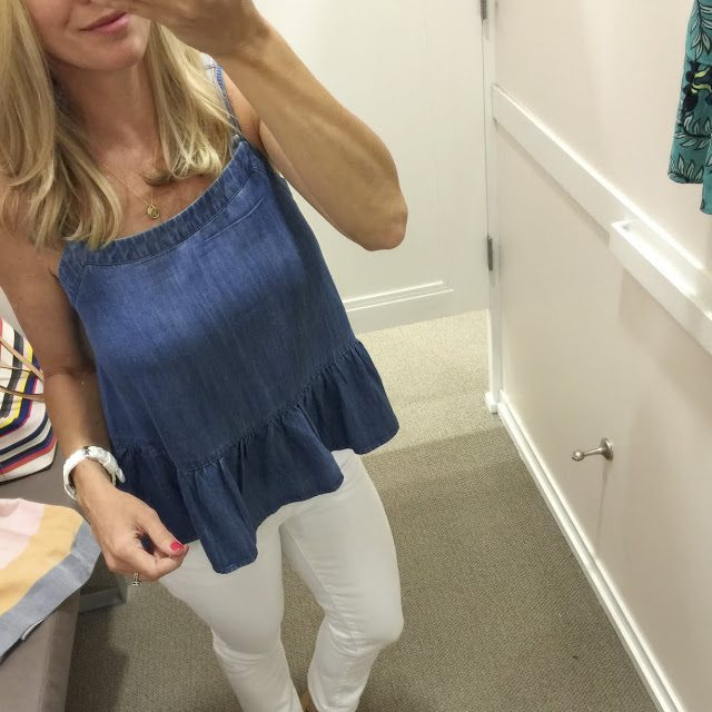 Summer Fashion - chambray peplum tank and white jeans #outfit #outfitinspo #summerfashion