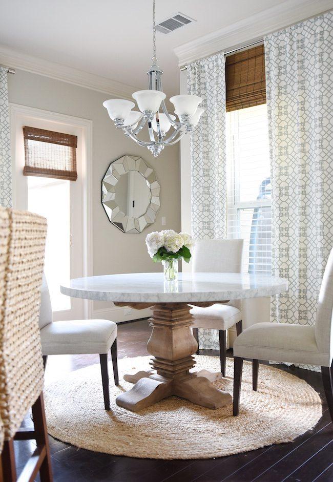 Cute Dining Table Similar Chairs Rug Mirror Barstools Drapery Fabric Kravet Pelagos Mist I had them made