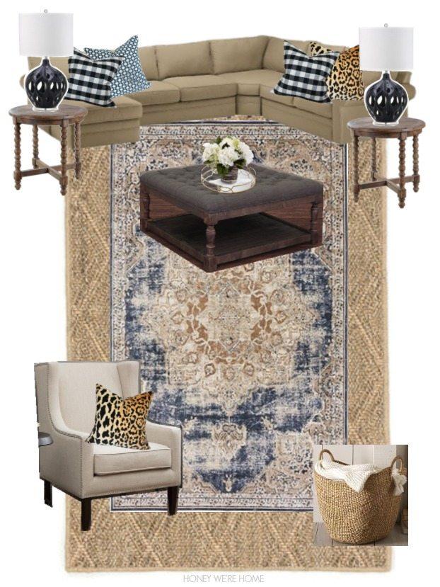 Cute Blue Tan Rug Ottoman Wing Chair Round End Table Leopard Velvet Pillow Buffalo Check Pillow Betwixt Indigo Blue Pillow Lamps Oversize