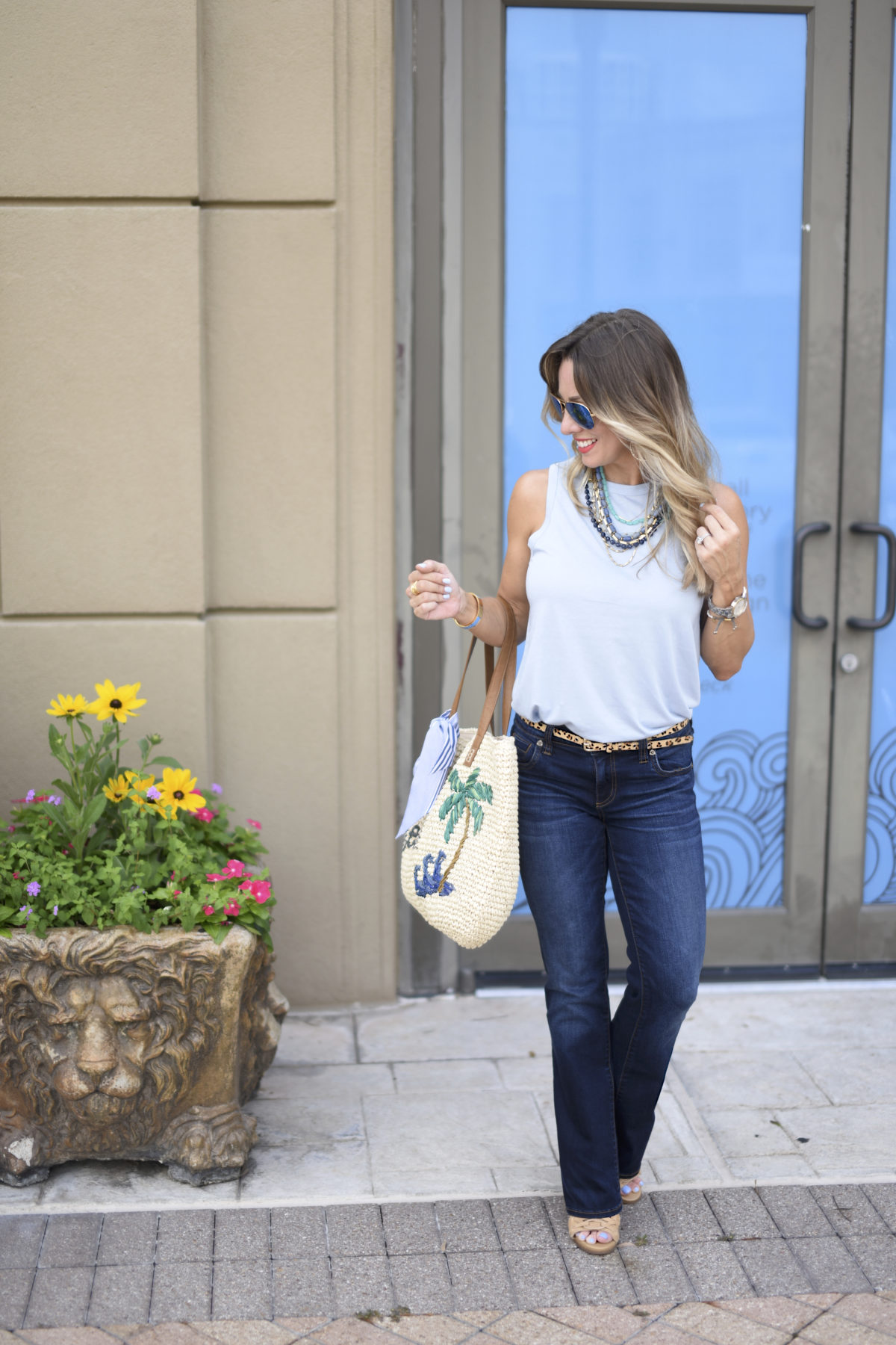 blue tank bootcut jeans boot