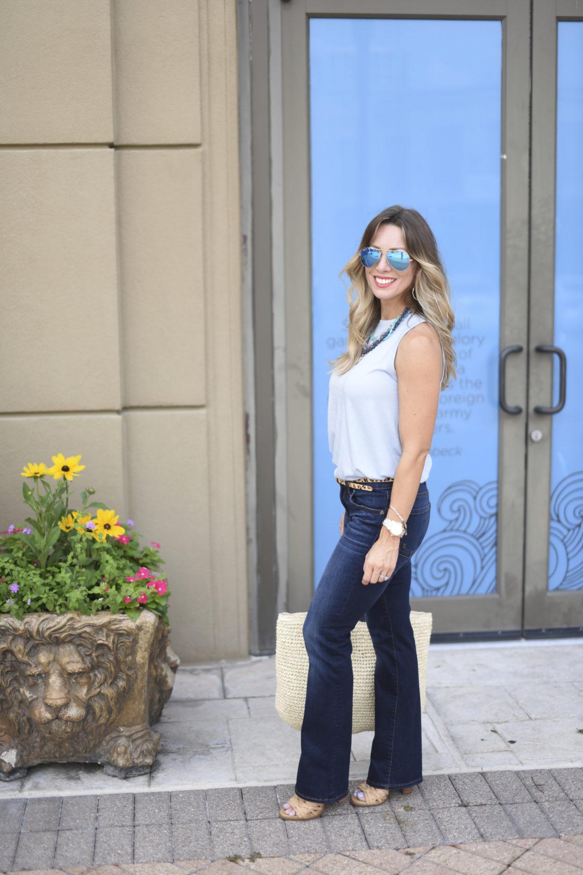 blue tank bootcut jeans boot
