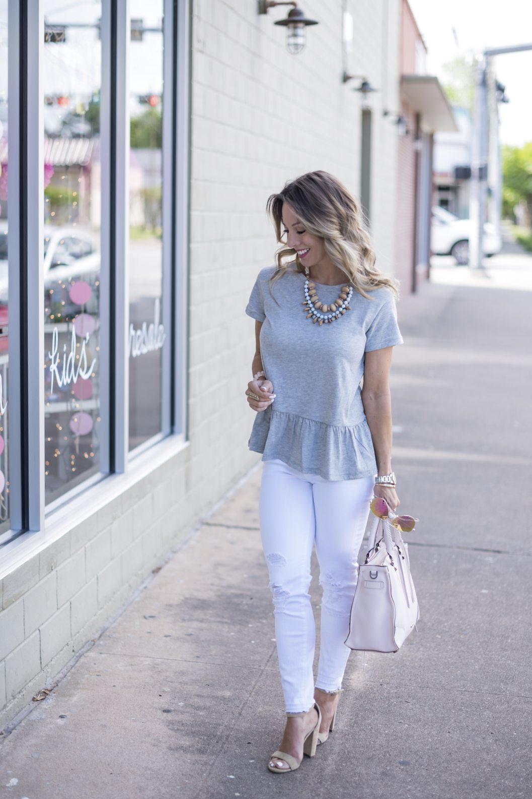 grey peplum top white jeans