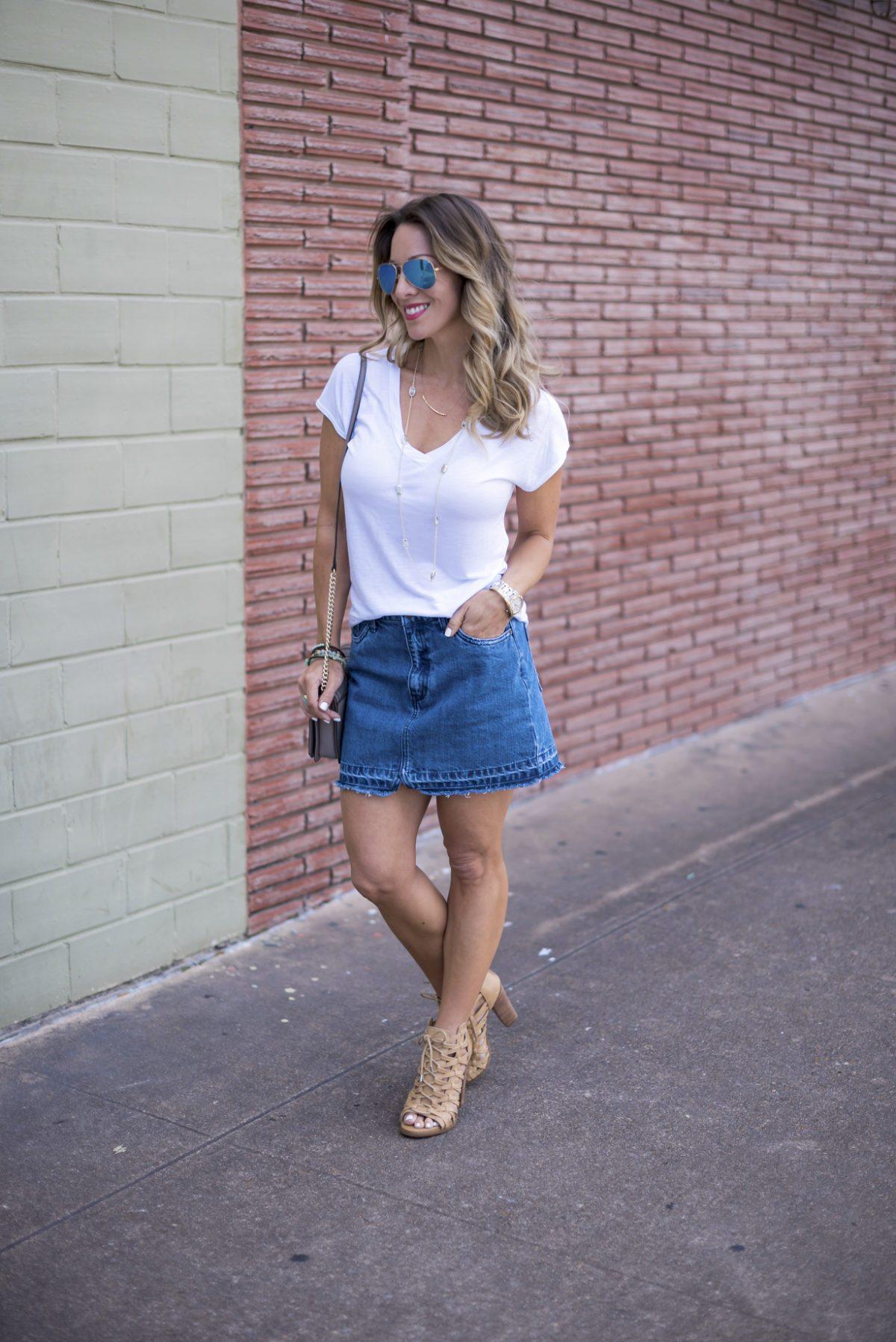 white tee jean skirt