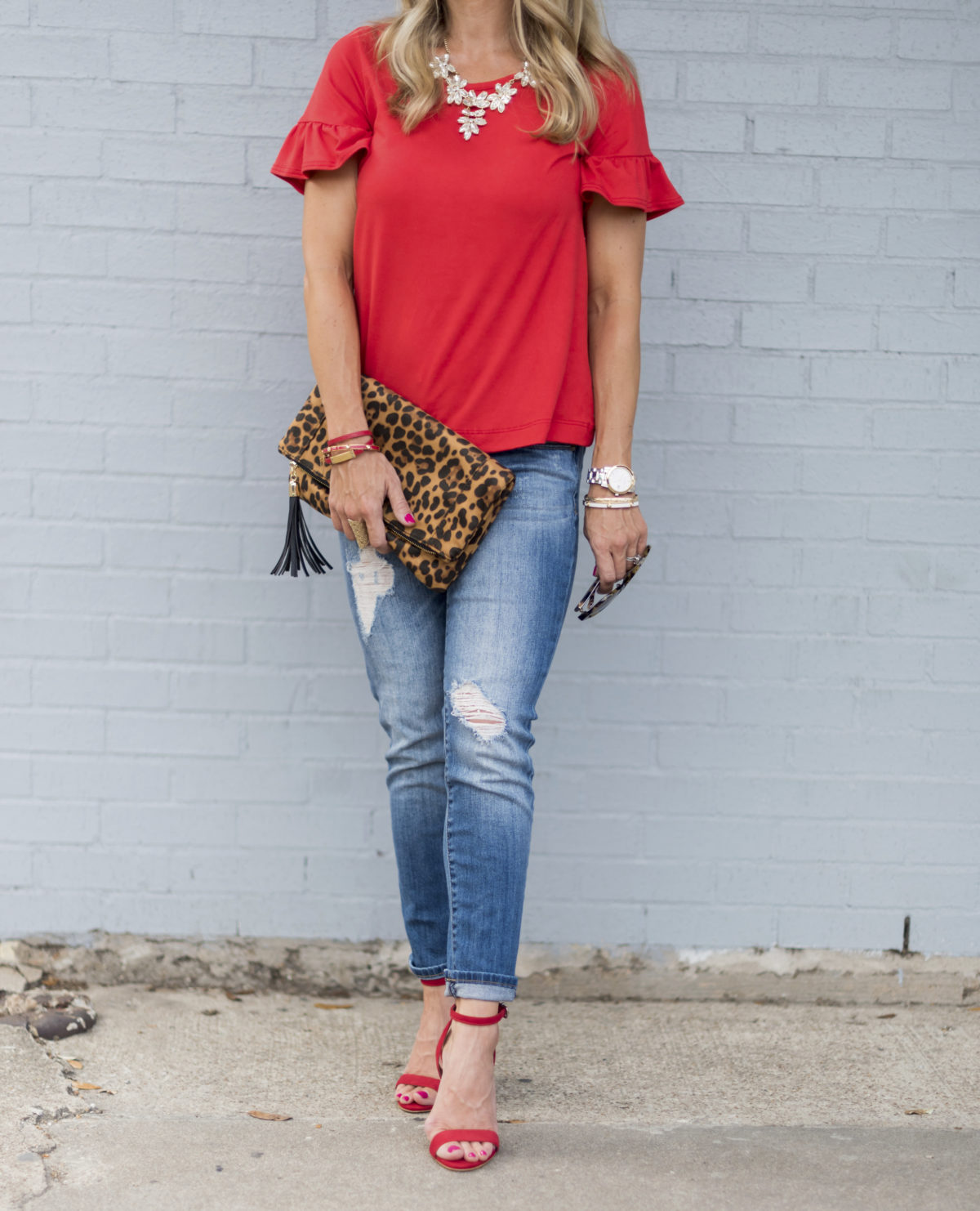 red top jeans