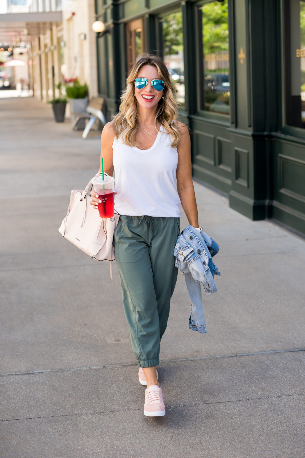 white tank army green joggers