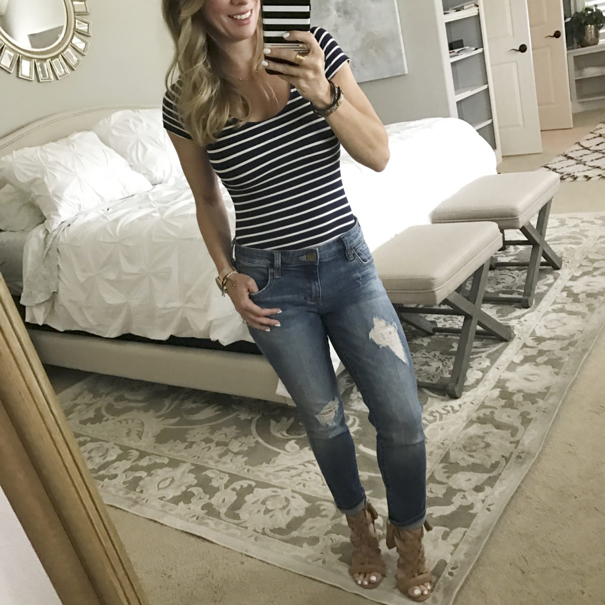 stripe bodysuit jeans