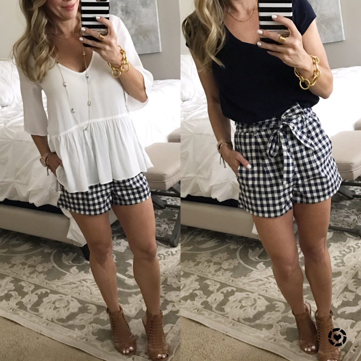 gingham shorts white top