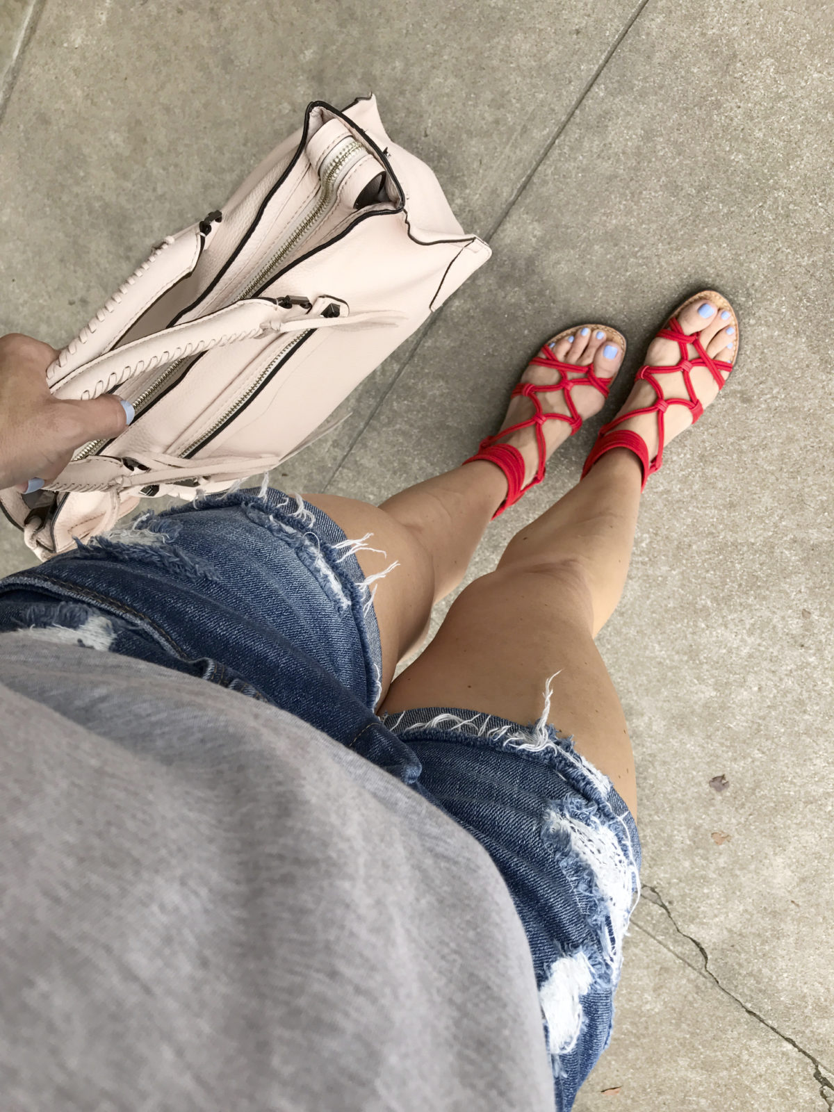 red sandals jean shorts
