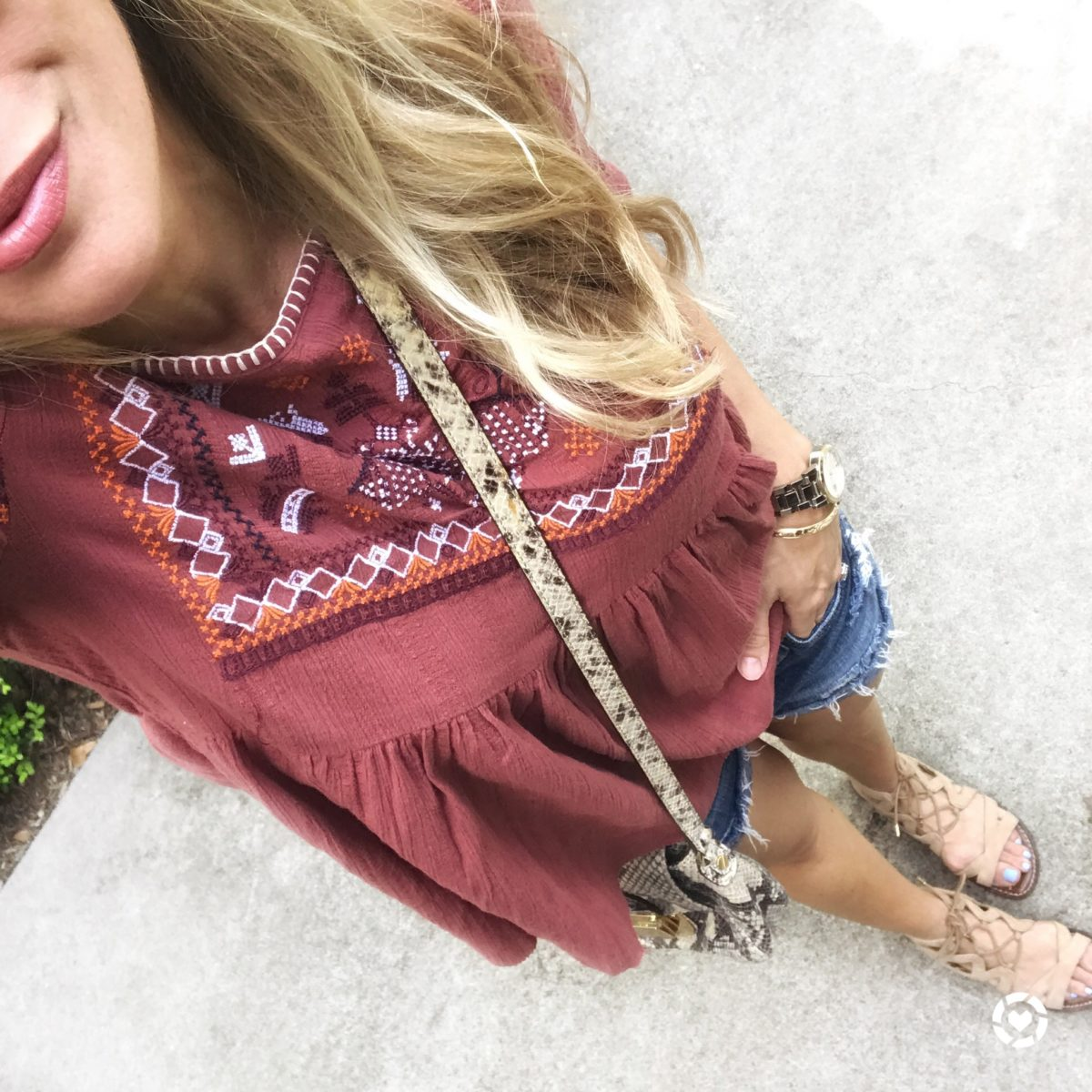 boho embroidered top jean shorts