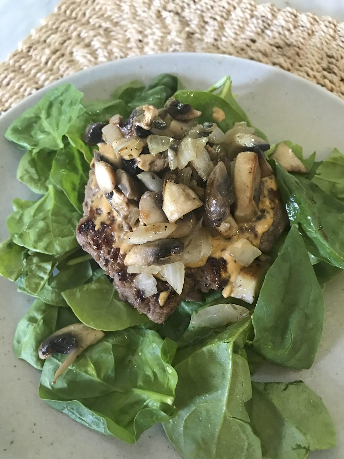 burger with onions and mushrooms