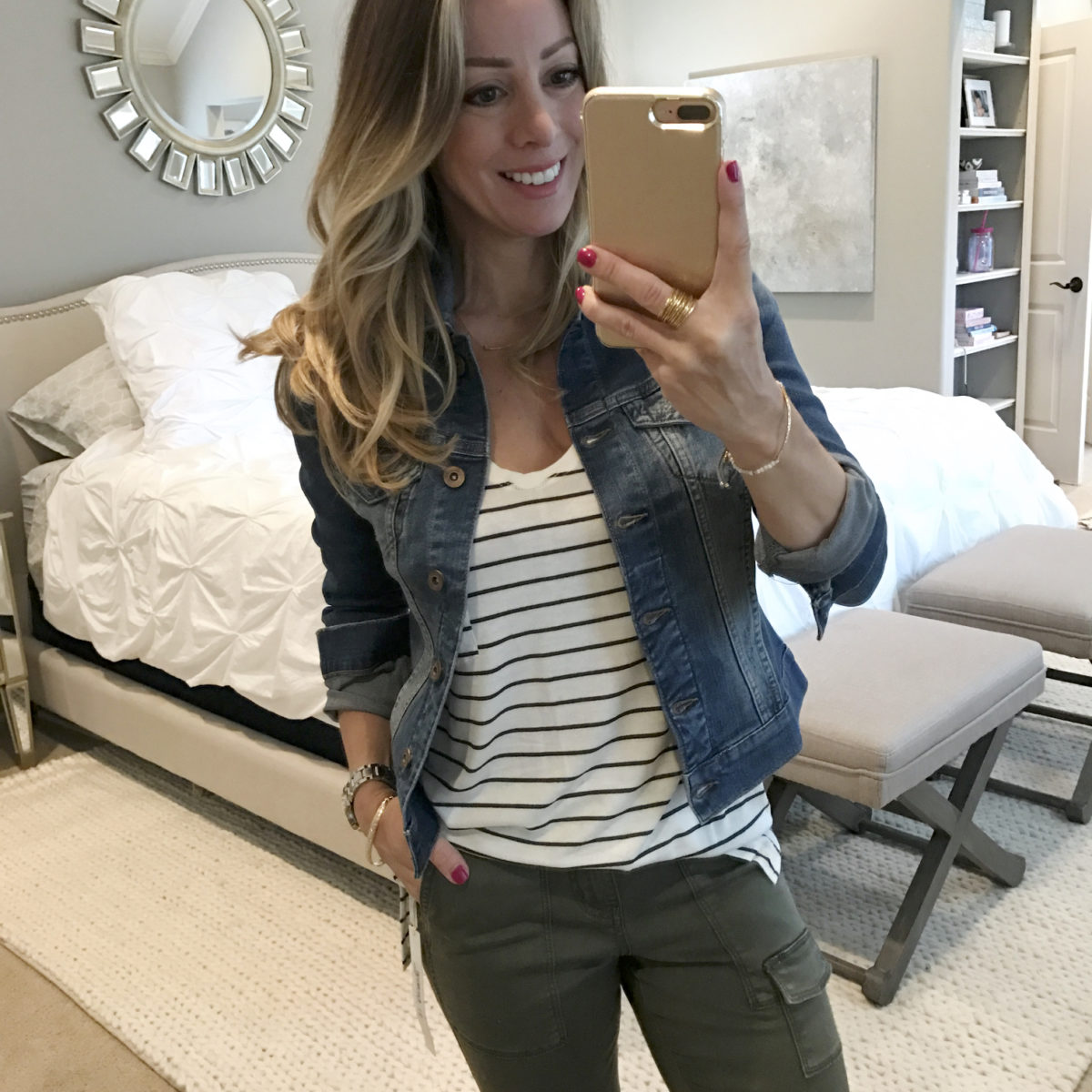 jean jacket striped shirt
