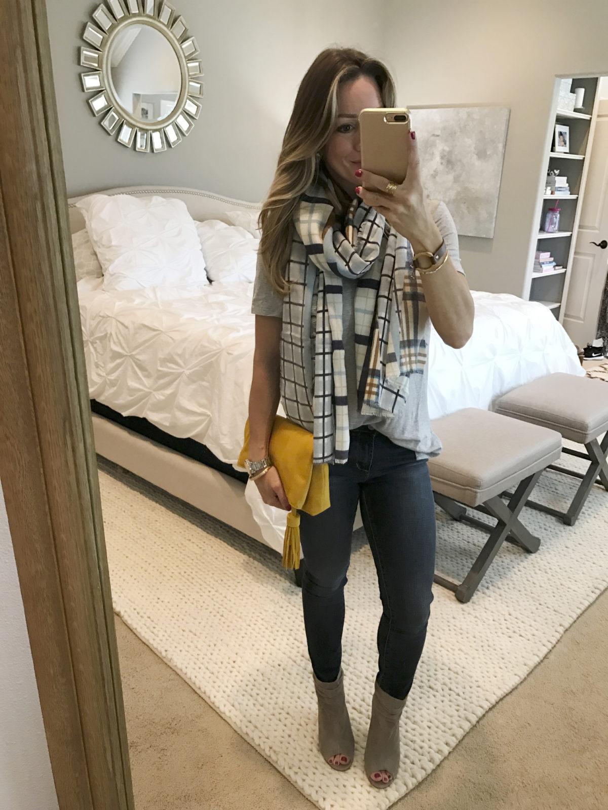 skinny jeans tee scarf peep toe booties