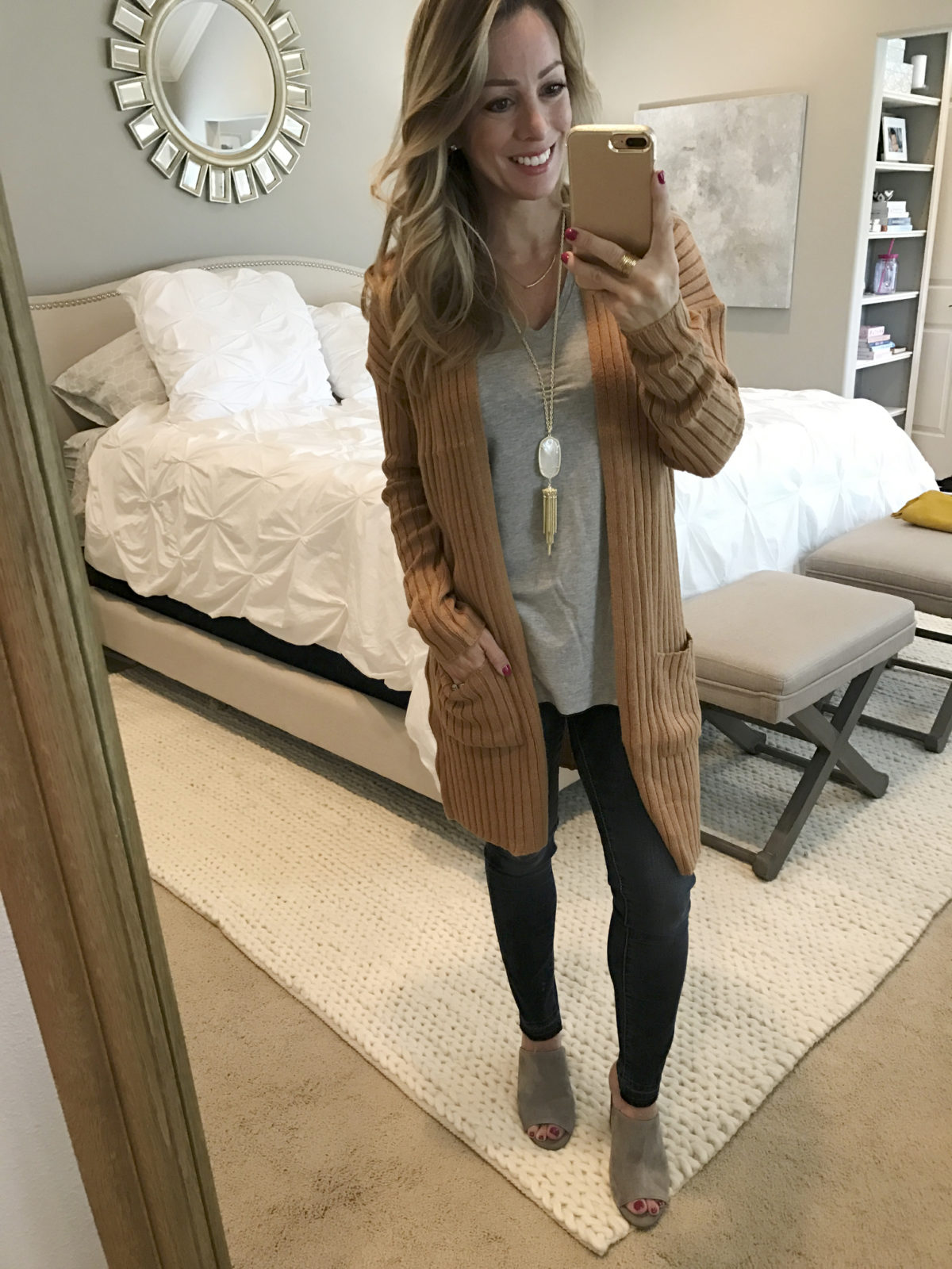 long cardigan skinny jeans slides