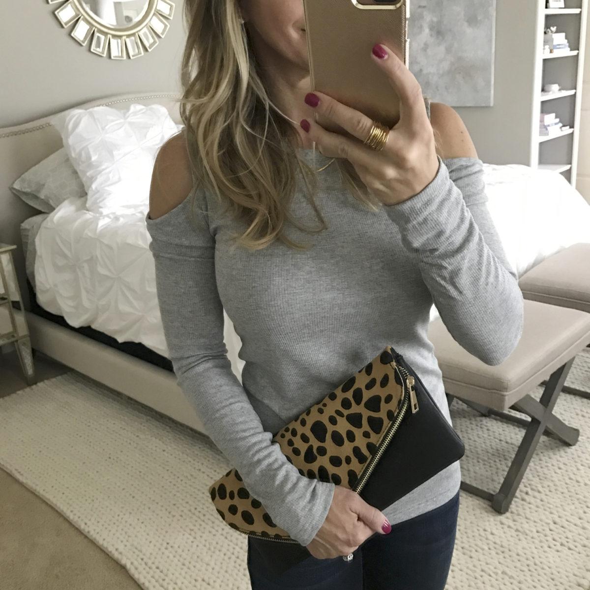 grey cold shoulder top leopard clutch