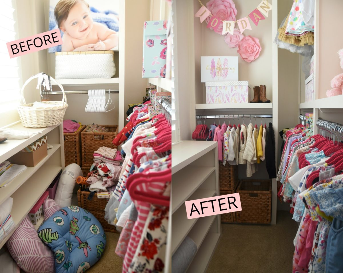 organized toddler closet