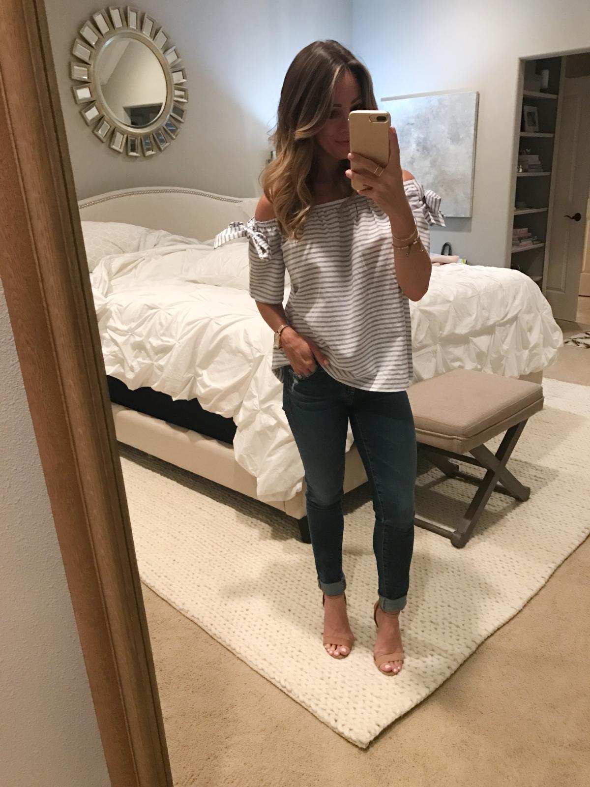off shoulder top AG skinny jeans