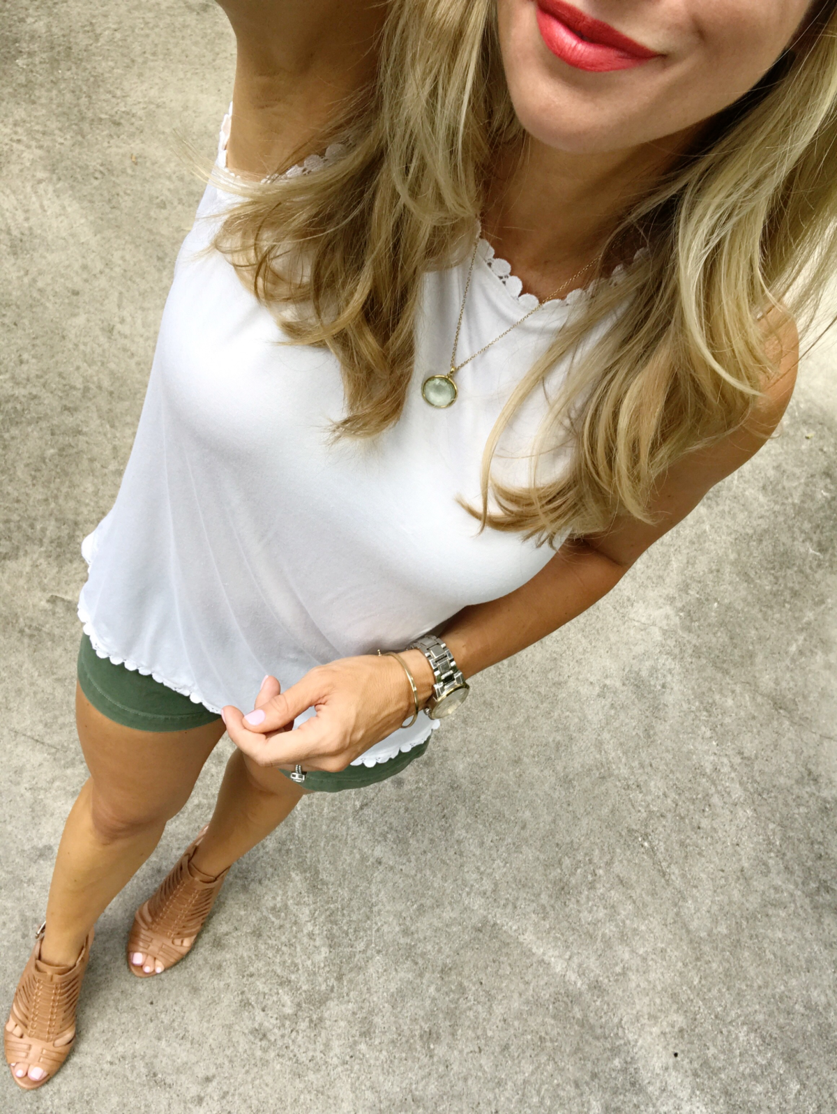 scallop tank olive shorts sandals