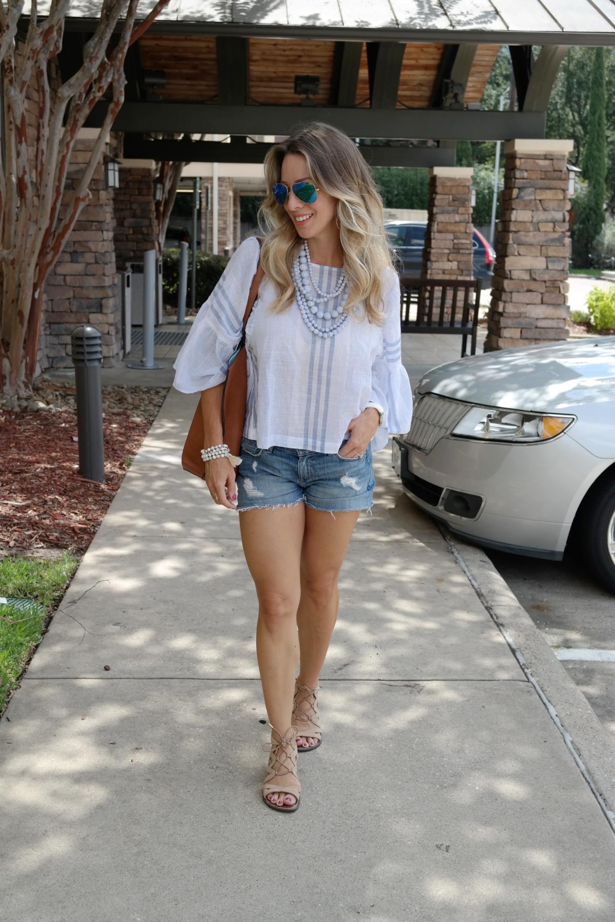 sleeve blouse jean shorts sandals