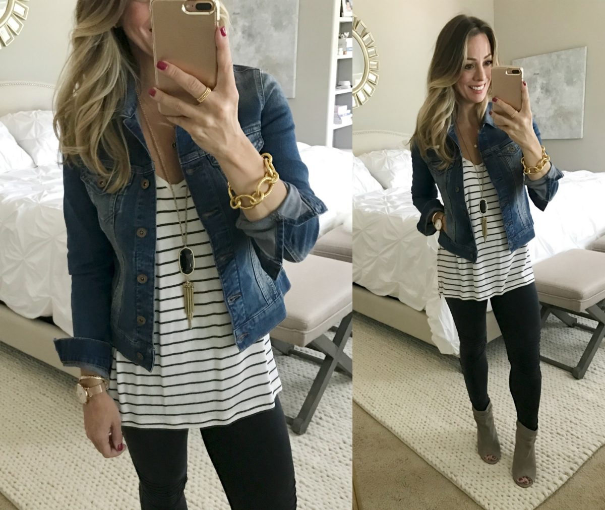 striped shirt jean jacket