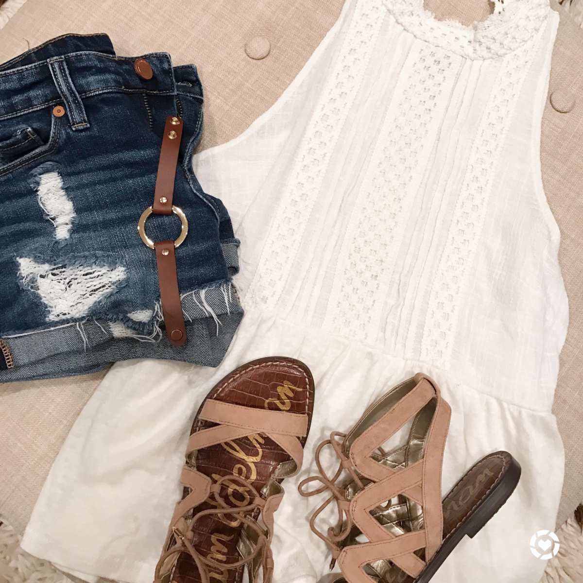 white tank jean shorts