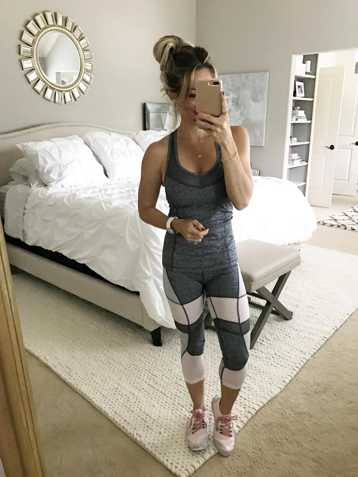 zella pink and grey workout tank capri pants